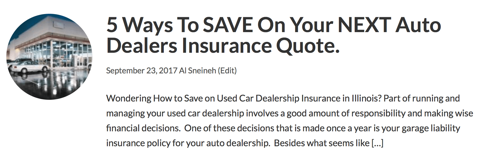 Car Dealership Insurance Quote   Illinois and Indiana ...